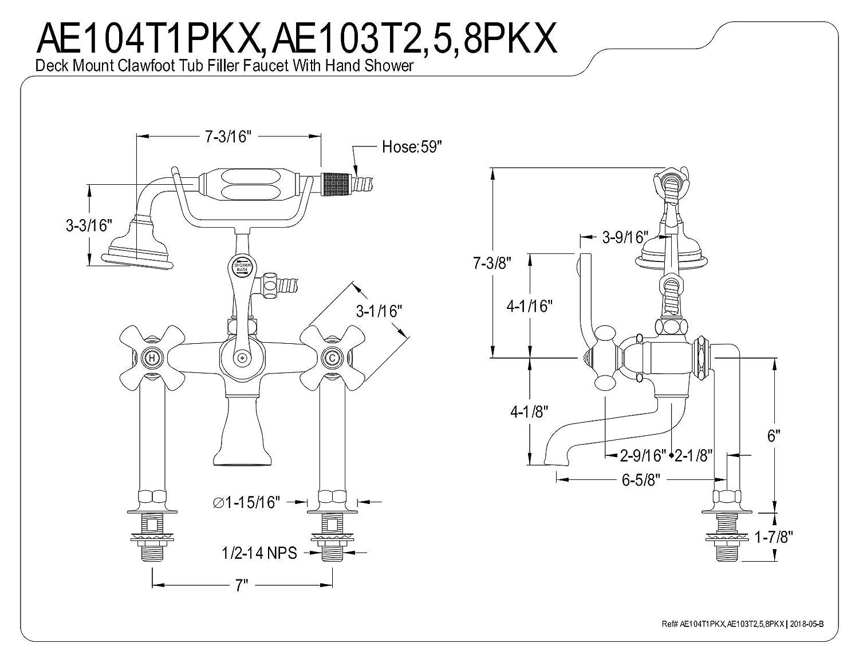 Kingston Brass AE104T1PKX Duchess Deck Mount Clawfoot Tub Faucet 7 Polished Chrome
