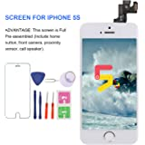 For iPhone 5S Screen Replacement With Home Button - MAFIX Full Pre-assembly LCD Display Digitizer Touch Screen Kit Include Repair Tools & Screen Protector, White
