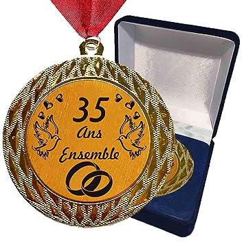 Larius Group Médaille Cadeau De Mariage 35 Ans Ensemble Ou