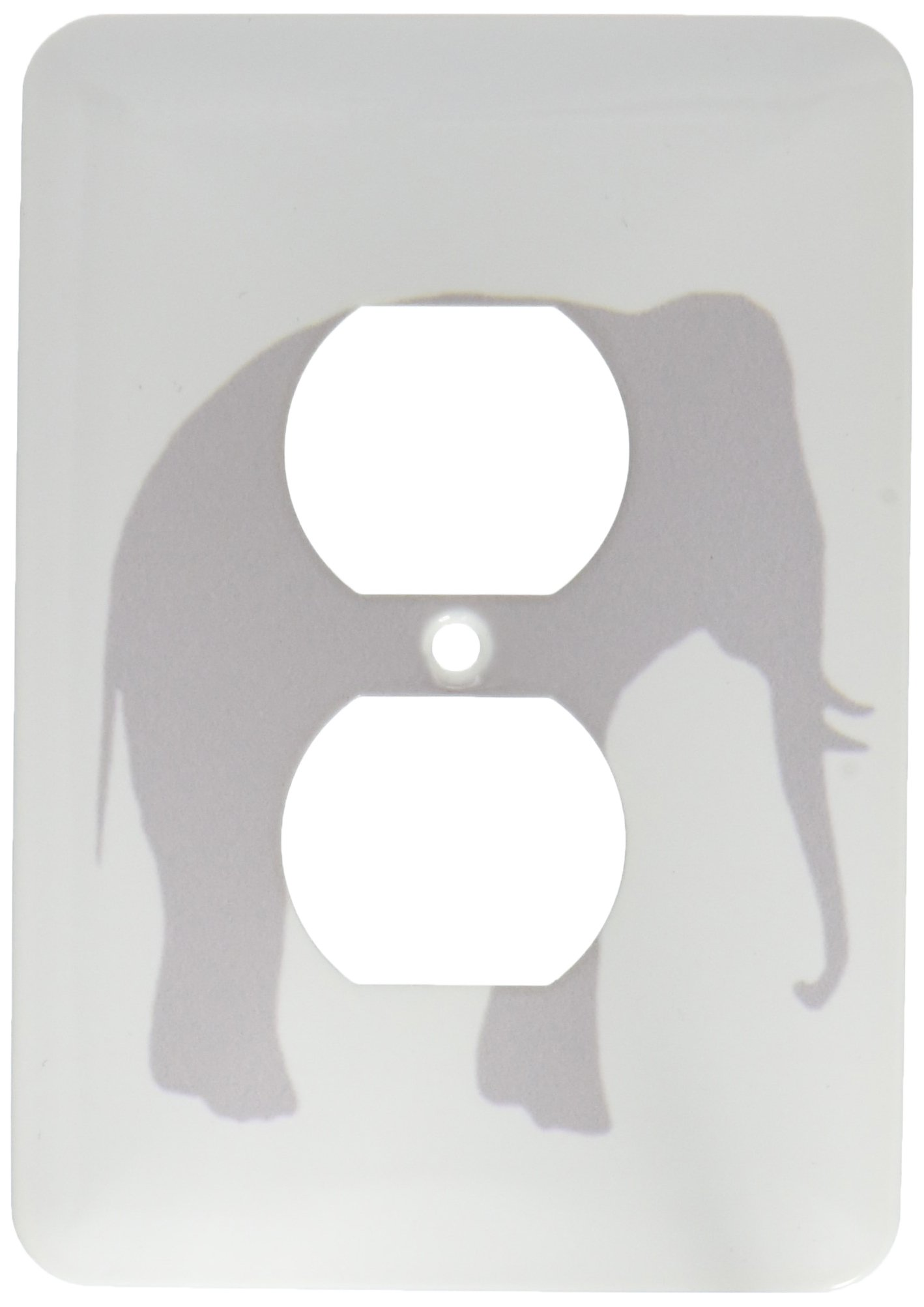 3dRose lsp_164908_6  Grey Elephant Silhouette. Gray Animal on White Modern Minimalist Style 2 Plug Outlet Cover
