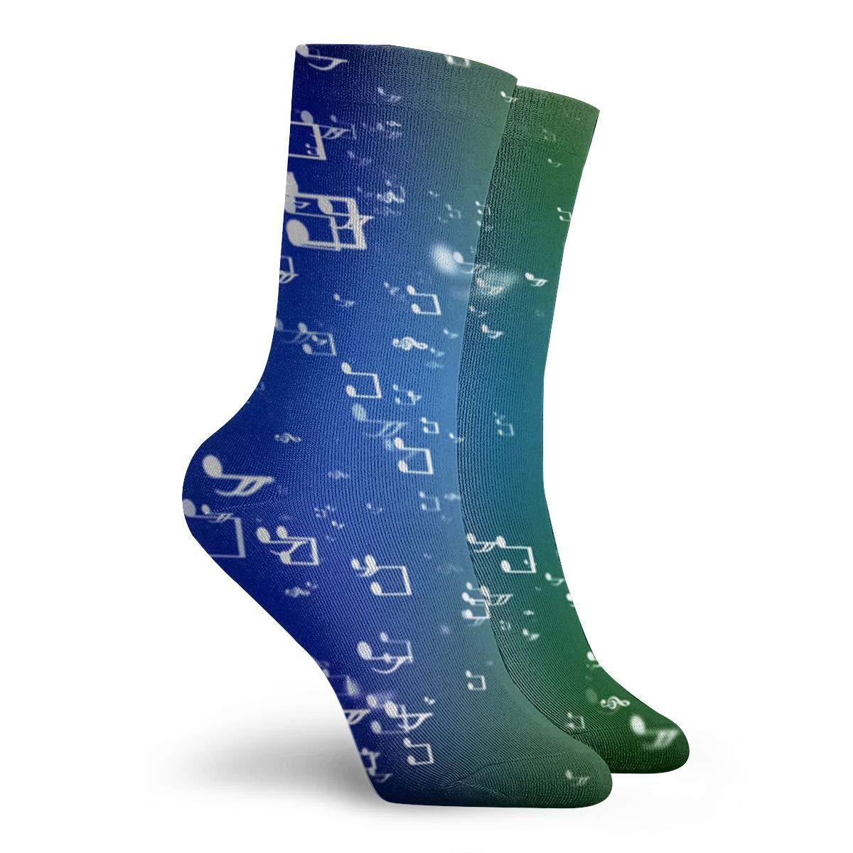 SESY Blue Music Symbols Unisex Crew Socks Short Sports Stocking