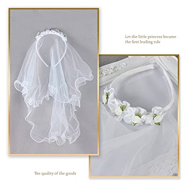 Valdler 2-Tier Beaded Veil with Attached Floral Headband for Girls ... 3d5fc357c3c