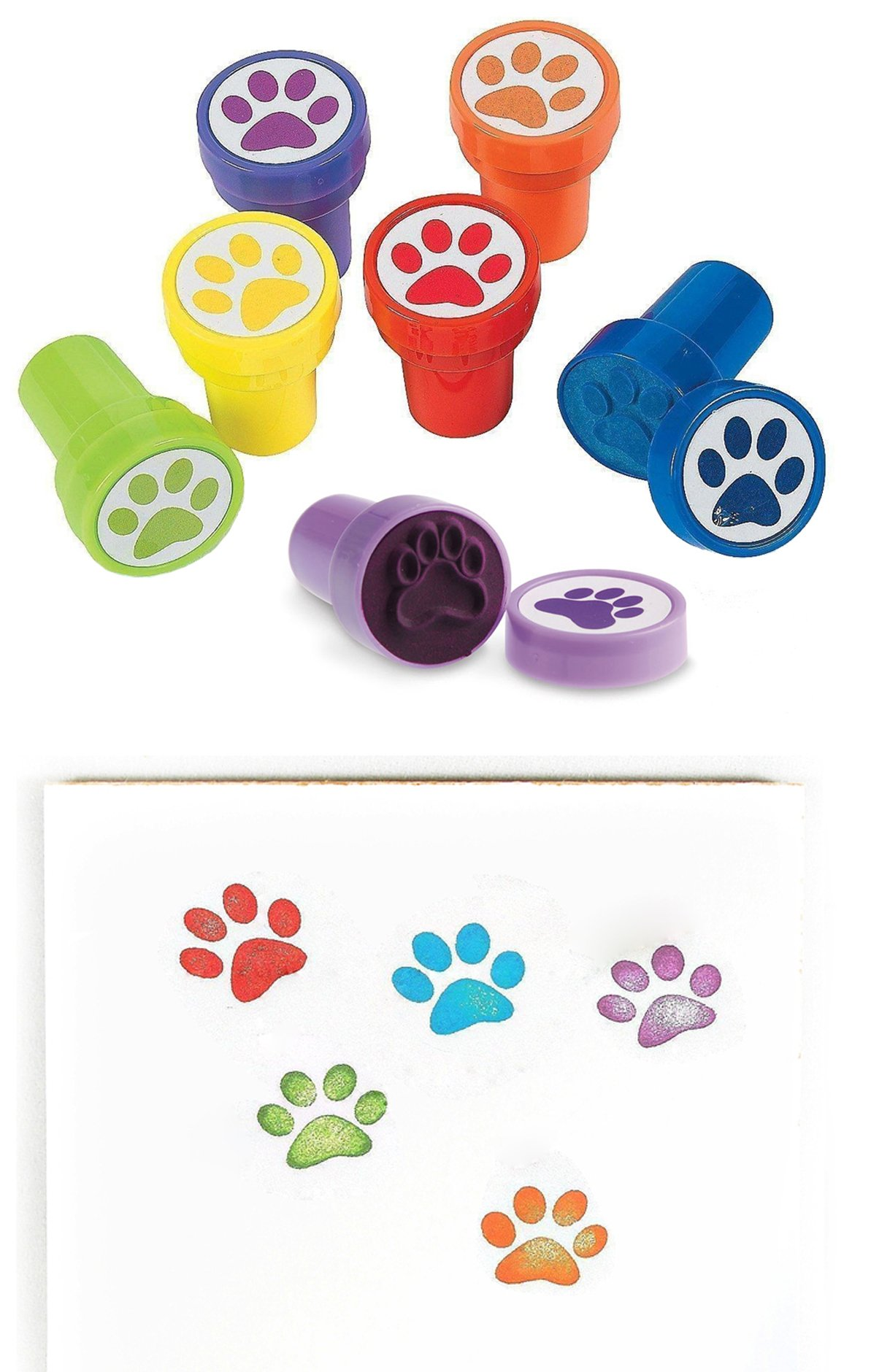 Animal Paw Print Stamper Stamps - Pack of 24 Pieces