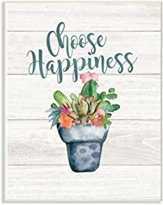 Stupell Industries Choose Happiness Cactus Succulents Watercolor Wall Plaque, 13 x 19, Multi-Color