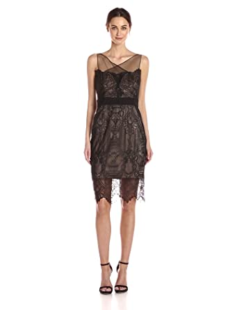 7ebfc392a9 Vera Wang Women s Sleeveless Lace Cocktail Dress with Illusion Neckline
