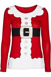 7768a6a7b95 Fashion Star Womens Christmas T Shirt Ladies Elf Costume Xmas Cap Sleeve  Jersey Dress Top