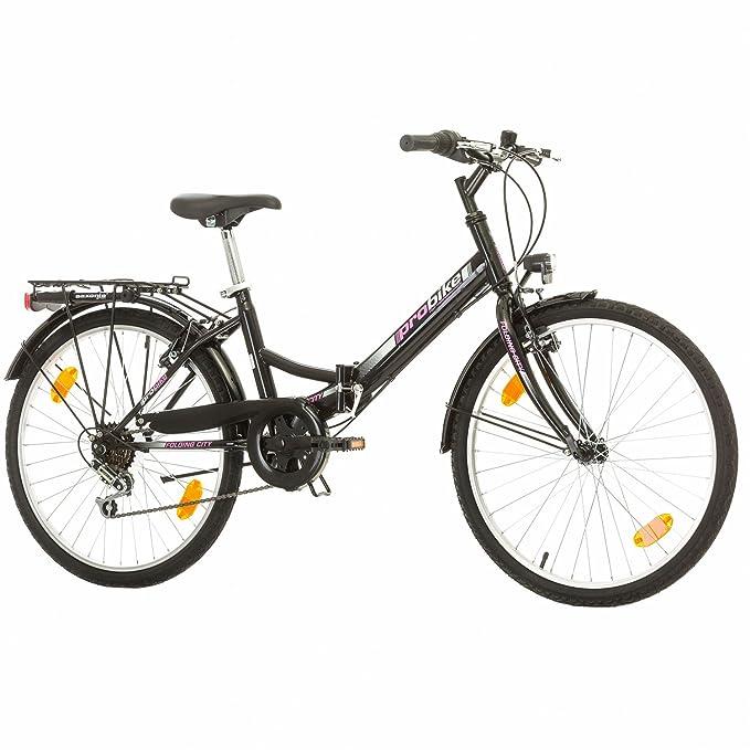 Multimarca, Folding City 24 Lady, 24 Pulgadas, 457 mm, Bicicleta de Montaña Plegable, 18 velocidades, para Mujeres, Niña, Guardabarros Delantero y Trasero, ...