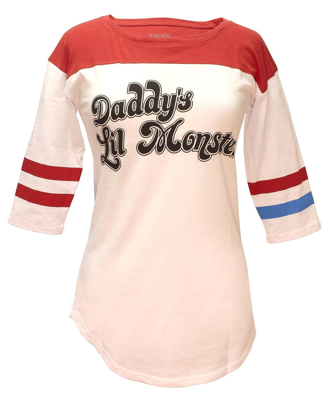 d126e0161 Amazon.com: Bioworld Suicide Squad Harley Quinn Daddy's Lil Monster Raglan T -Shirt: Clothing