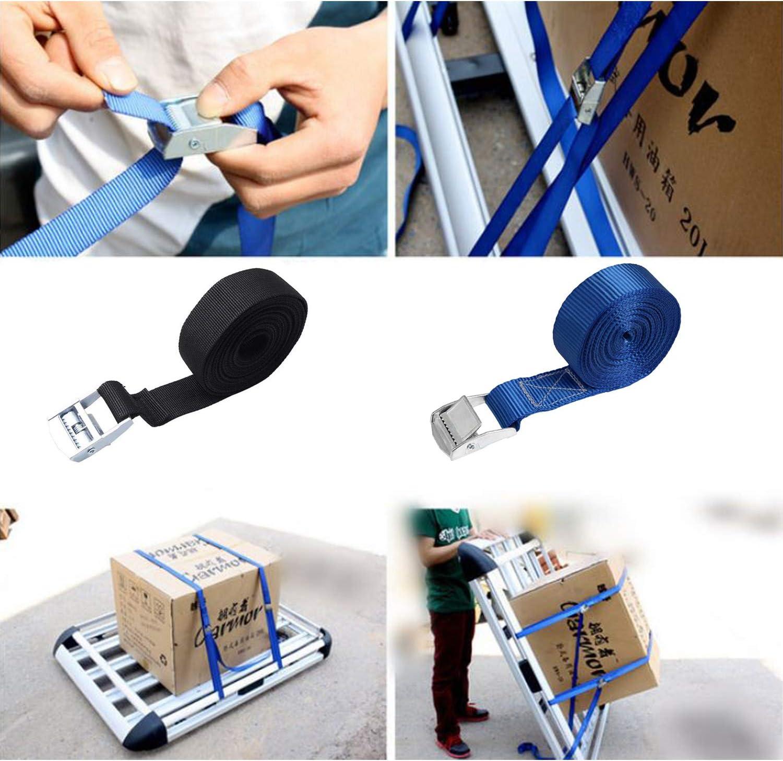 BEIFON 5pcs Sangle dArrimage 2.5 cm x 2 m Sangle /à Cliquet Sangle /à Griffe Sangle de Fixation Remorque Sangles pour Bagages Install/é dans Voiture//V/élo//Moto//Remorque Traction 250 kg Noir + Bleu
