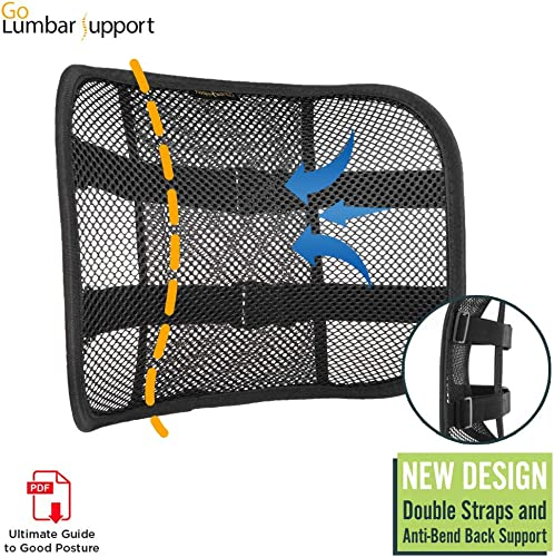 Go Lumbar Support Mesh Back Cushion for Car Seat Desk Office Chair