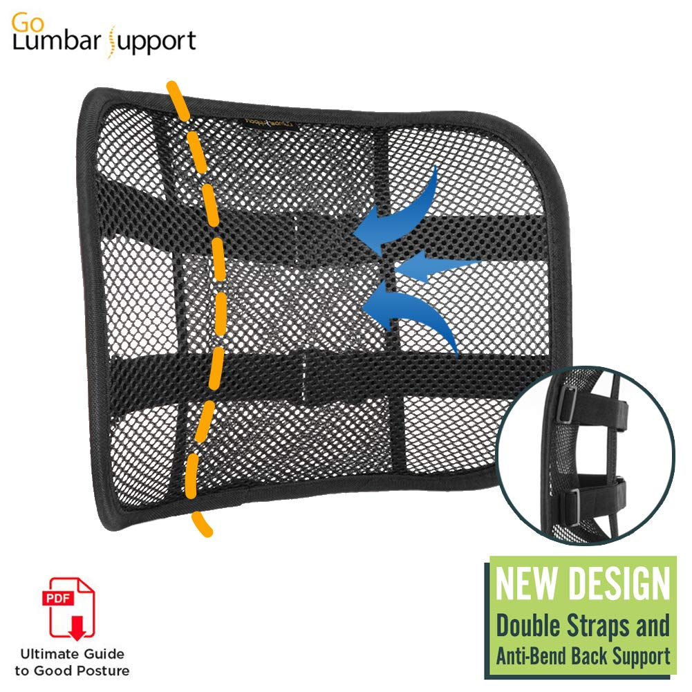 Go Lumbar Support Mesh Back Cushion for Car Seat Desk Office Chair [UPGRADE VERSION WITH STRAP], Recommended by Chiropractor Dr. Jose Guevara for Orthopedic Driving Comfort and Posture Support, Black by Go Lumbar Support