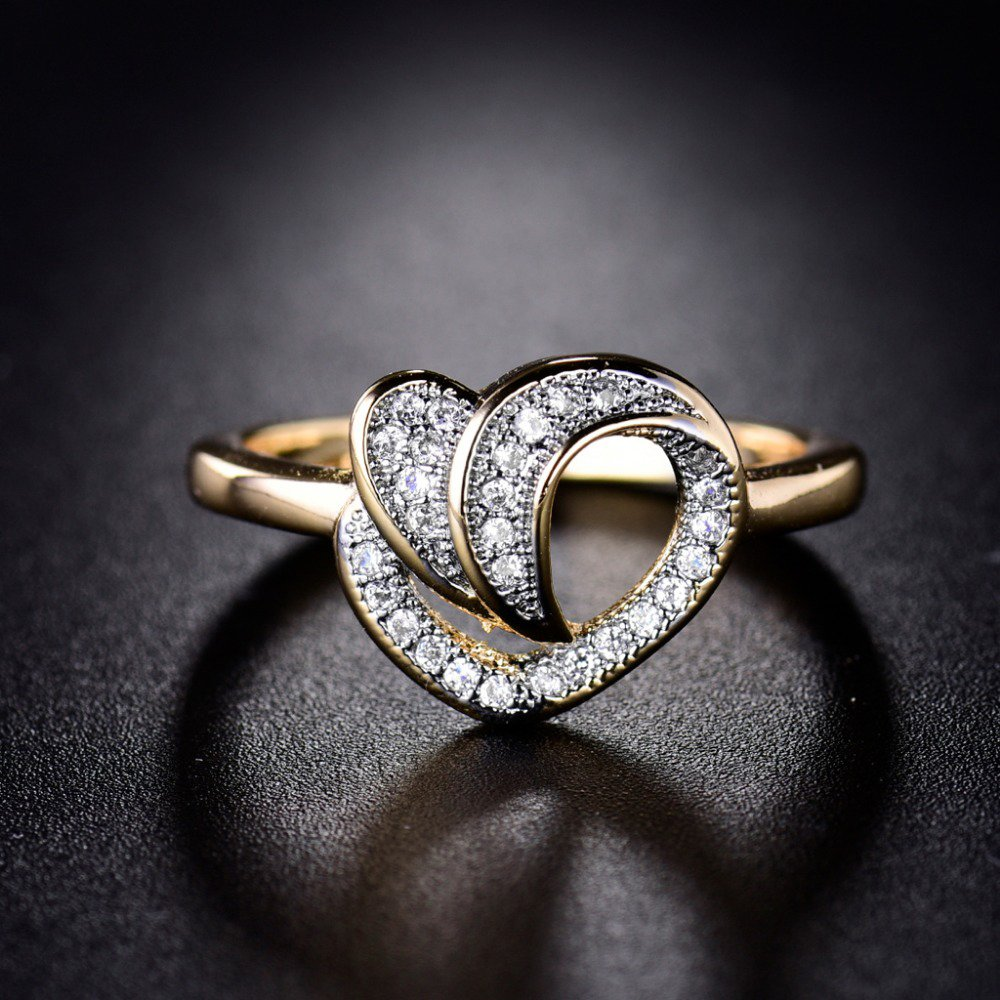 T-Ring Fashion Gold Plated Ring For Women Heart Eternity White Jewelry Wedding Rings T/&T