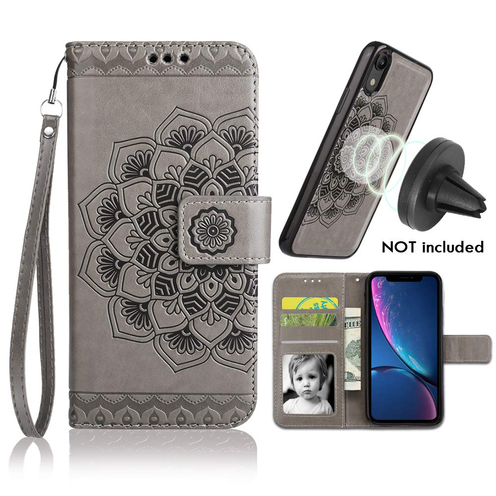 iPhone XR Case, iPhone XR Wallet Case with Detachable Slim Case, Card Solts Holder, Fit Car Mount,CASEOWL Mandala Flower Floral Embossed Vegan Leather Flip Lanyard Wallet Case for iPhone XR-Gray by CASEOWL