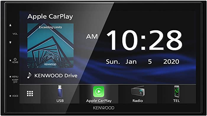 """Kenwood DMX47S Mechless 6.8"""" Capacitive Screen Digital Multimedia Receiver with Apple CarPlay & Android Auto Functionality (Does Not Play CDs)"""
