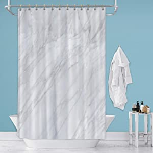 AA White Marble Wall Texture,Fabric Shower Curtain for Bathroom Decor 36 in by 72 in (WxH)