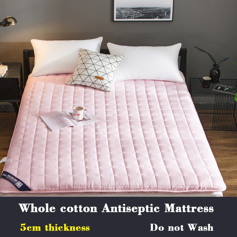Collapsible [cotton] Antibacterial Mattress,Mat Tatami mats For [individual] [double] Student [dorm room]-pink 90x200cm(35x79inch)