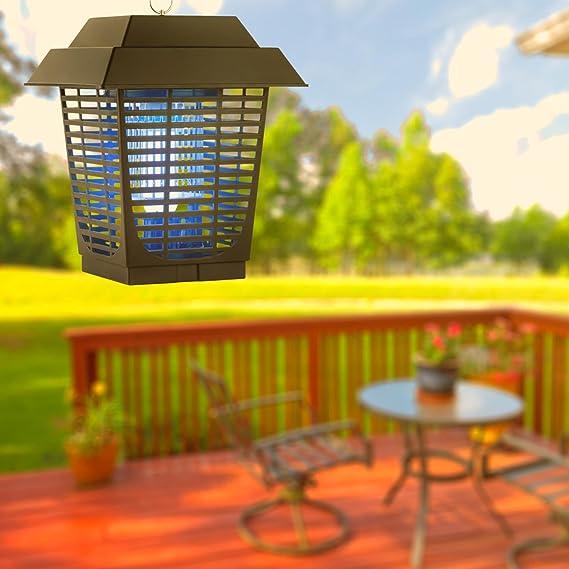 DURAMAXX Ex Lantern Lámpara antimosquitos antiinsectos - Fluorescente UV-A, Ultravioleta, 20W, Rejilla Alta tensión, Extermina Mosquitos, Moscas, Insectos, bichos, Interior Exterior: Amazon.es: Jardín