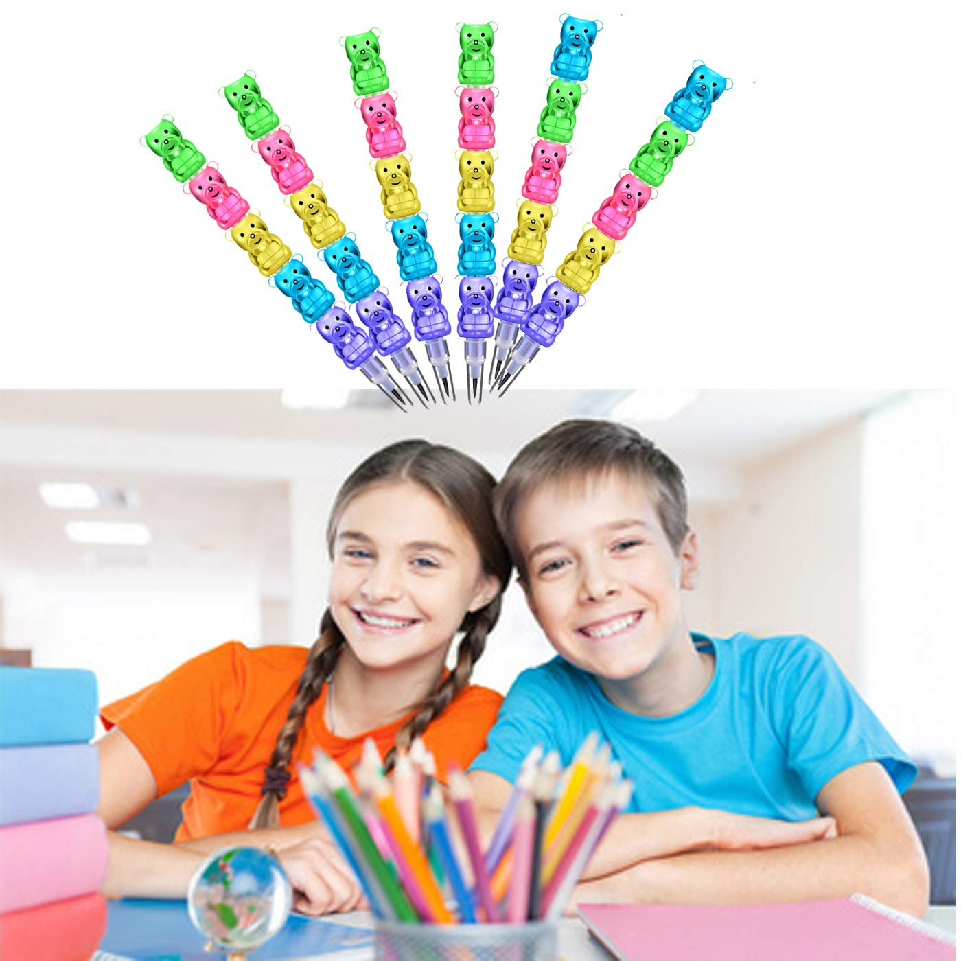 LGDehome 40 Pieces Colorful Stackable Pencils Plastic Bear Pencils 5 in 1 Stacking Pencils with A Waterproof Pencil Case for Birthday Party Favor School Supplies