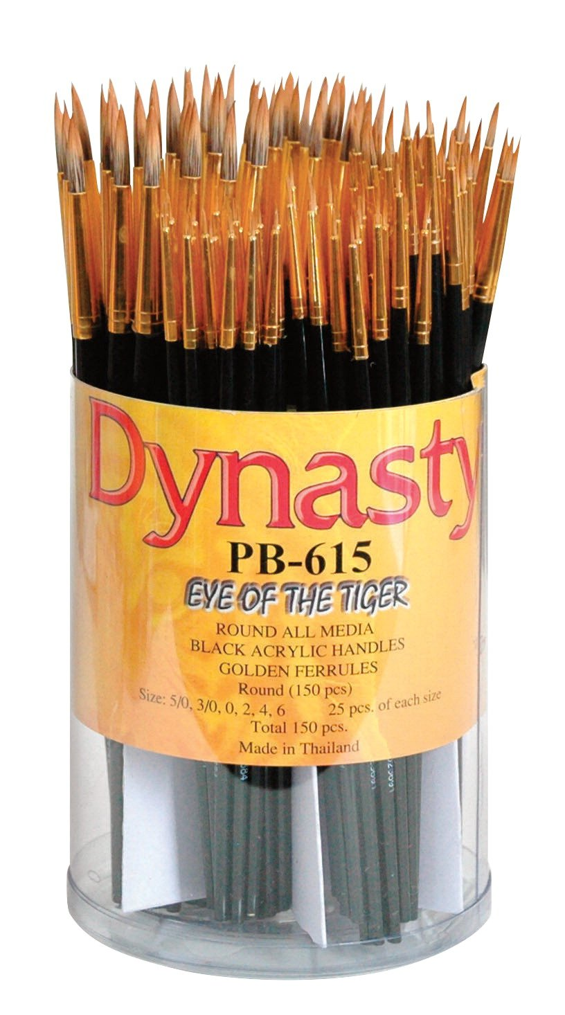 Dynasty PB-615 Eye of The Tiger Round Synthetic Hair Acrylic Handle Paint Brush Set, Assorted Size, Black, Set of 150 by Dynasty Brush