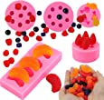 5Pcs Fruit Snacks Silicone Candy Fondant Molds, 3D Mini Pineapple Strawberry Orange Blueberry Mulberry Fruit Silicone Mould for Gum Paste, Cupcake Decorating, Soap Embed,Polymer Clay, Chocolate
