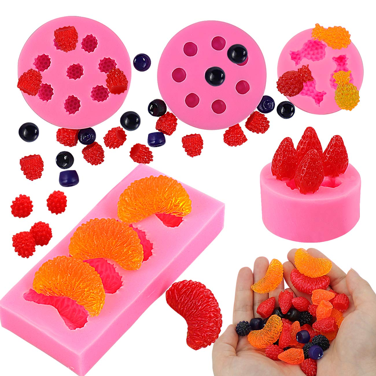 5Pcs Fruit Shaped Jelly Molds, 3D Mini Pineapple Strawberry Orange Blueberry Mulberry Candle Silicone Fruit Mold for Cupcake Decorating, Soap, Chocolate