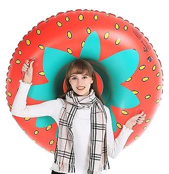 Jasonwell Invierno Fresa Nieve Tubo - Trineo hinchable redondo tobogán inflables con bolsa de transporte gratuita - Regalos decoraciones para Navidad ...