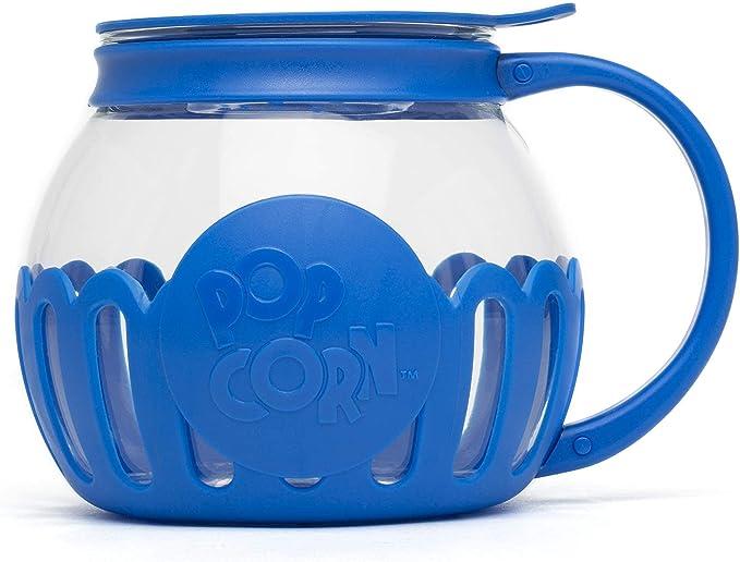 Microwave Popcorn Popper, Borosilicate Glass, 3-in-1 Lid, Dishwasher Safe, 1.5 Quart - Snack Size, Blue   Amazon