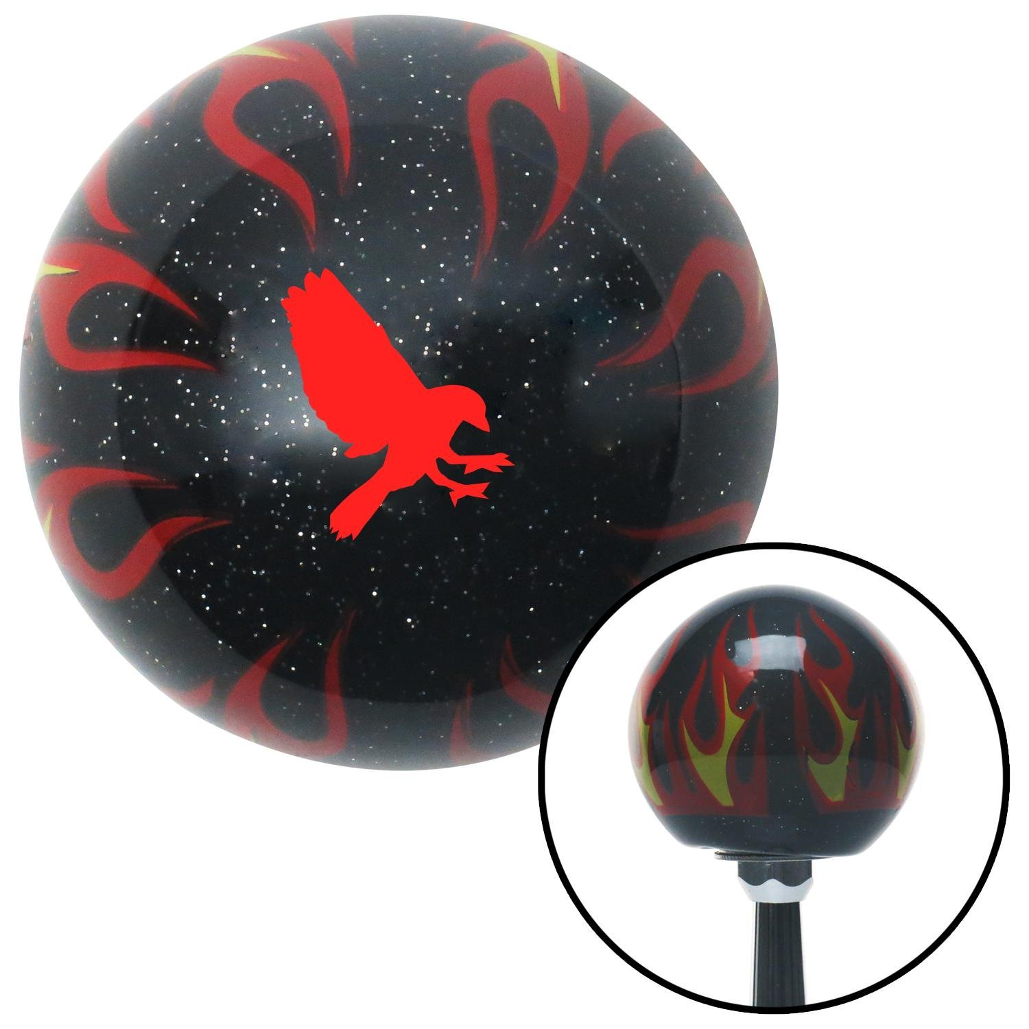 American Shifter 294019 Shift Knob Red Crow Black Flame Metal Flake