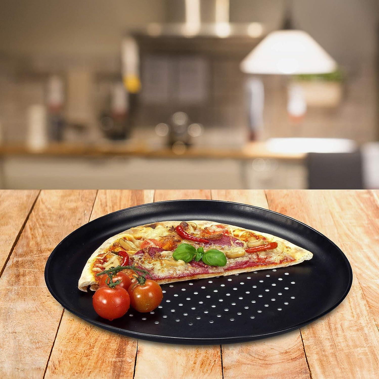 Moldes de pizza perforados para horno antiadherente Grizzly Set de 2 Bandejas para Pizza 30 cm