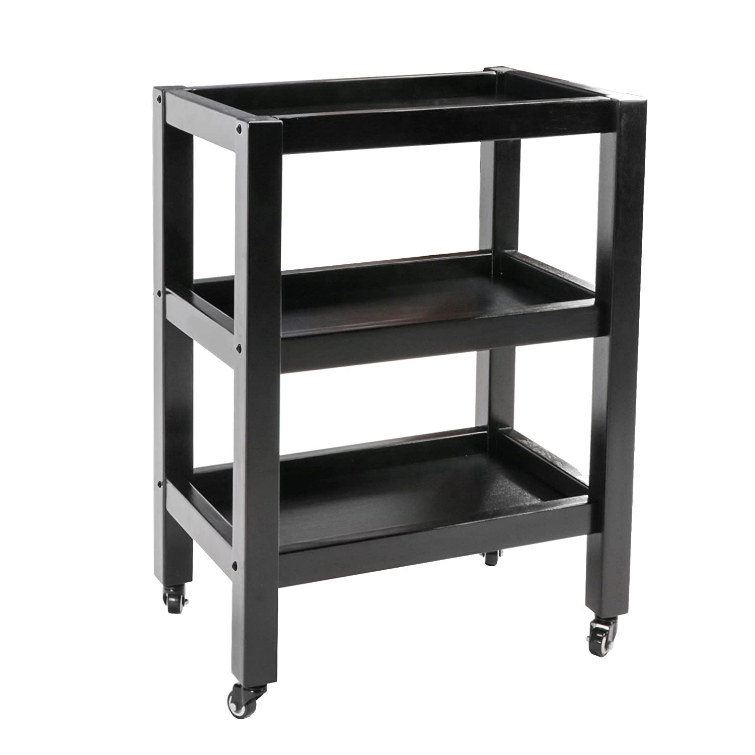 Master Massage Wooden 3-Tier Rolling Cart Large Mobile Trolley with Wheels for Salon Spa Tattoo Clinics Office Home Use, Black