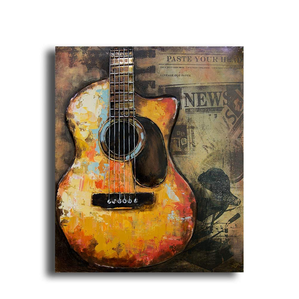 New 3D Metal Guitar Painting, Guitar Music Wall Art, 3D Paintings Metal Home Decor Decal, for A Musician, Handmade Metal Sculpture, Guitar Metal Wall Artwork 24x 20'' by Sigma Décor by Sigma Decor