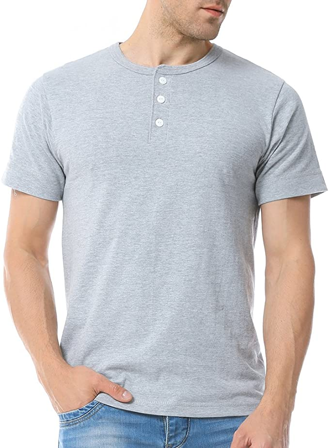 BYWX Men Stylish T-Shirt Round Neck Short Sleeve Solid Henley Shirts