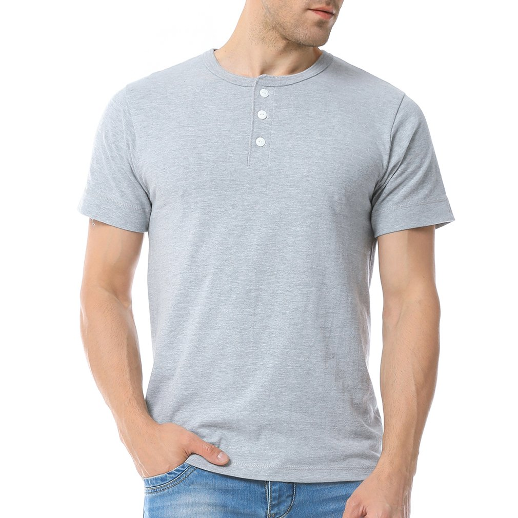 Just No Logo Men's Short Sleeve Casual Cotton Henley T-Shirt with Solid Color(M,Grey)