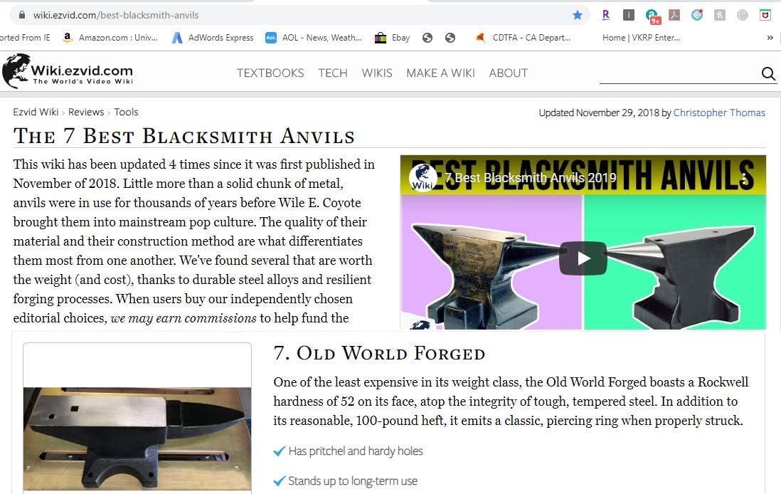Old World Blacksmith - Cuerno de acero forjado de yunque de 100 libras: Amazon.es: Bricolaje y herramientas