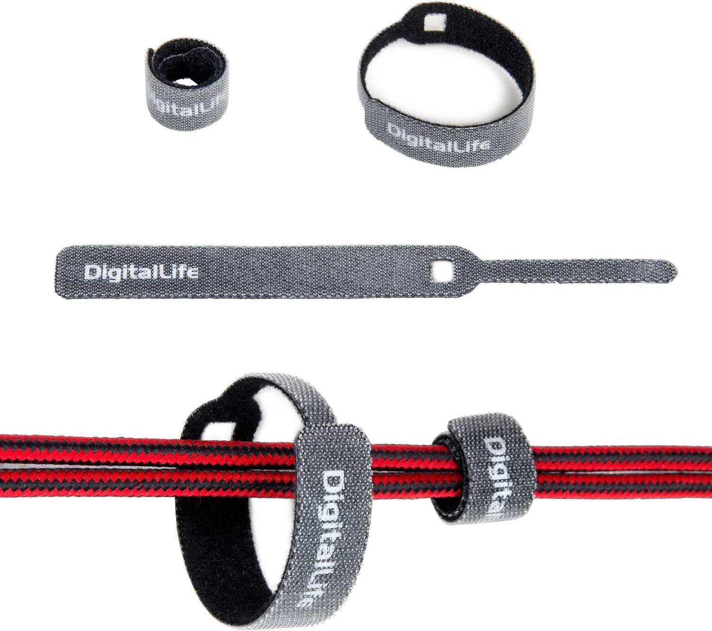20 piezas DigitalLife Correas de tiras de cable reutilizables peque/ñas para envoltura de almacenamiento de cable delgado Tiras autoadhesivas