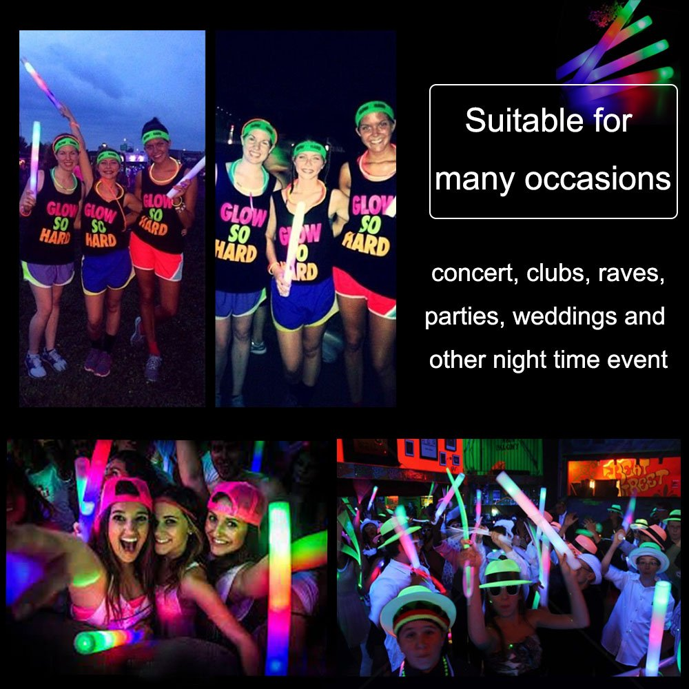 Blu7ive 50 Pieces Glow Foam Sticks, 3 Modes Flashing Light Up Led Foam Stick for Party, Concert, Halloween by Blu7ive (Image #5)