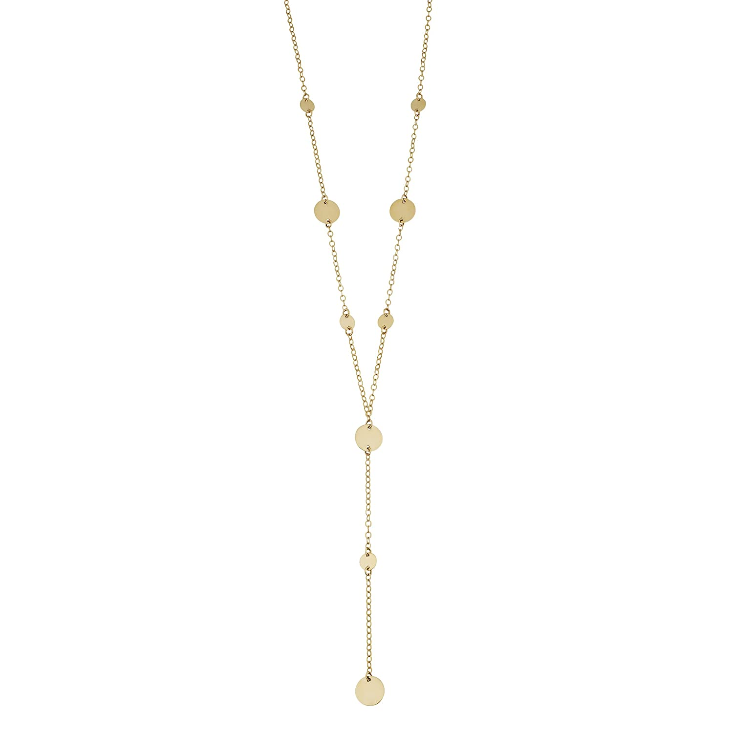 549e6302498b8 Kooljewelry 14k Yellow Gold Disc Station Lariat Necklace (18 inch)