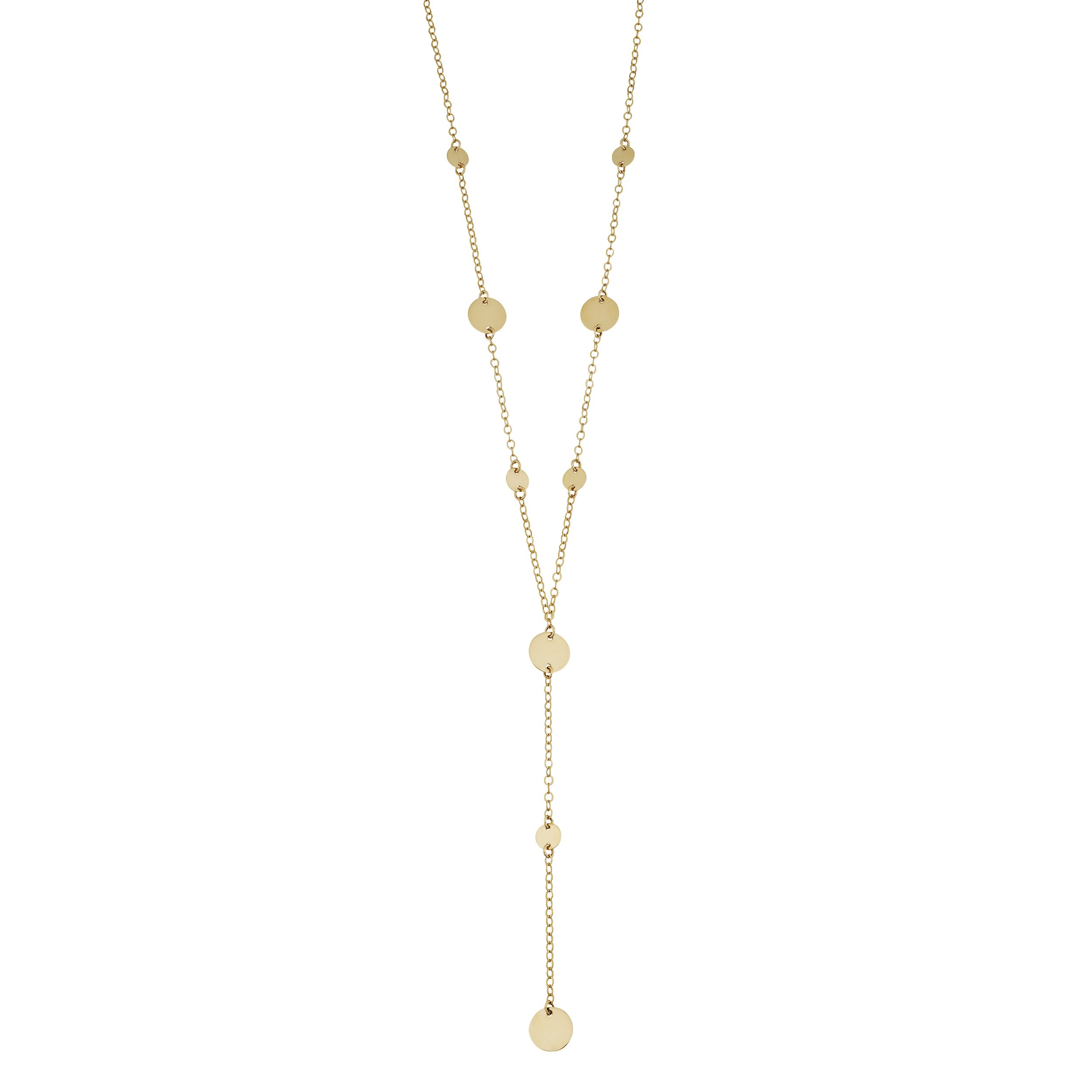 Kooljewelry 14k Yellow Gold Disc Station Lariat Necklace (18 inch)