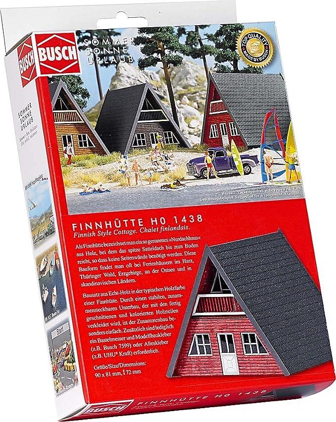 Busch 1438 - Finnhütte, rotes Holz: Amazon.de: Spielzeug