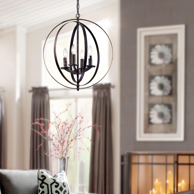 Antique Bronze Globe Sphere Iron Rings Chandelier Pendant Ceiling