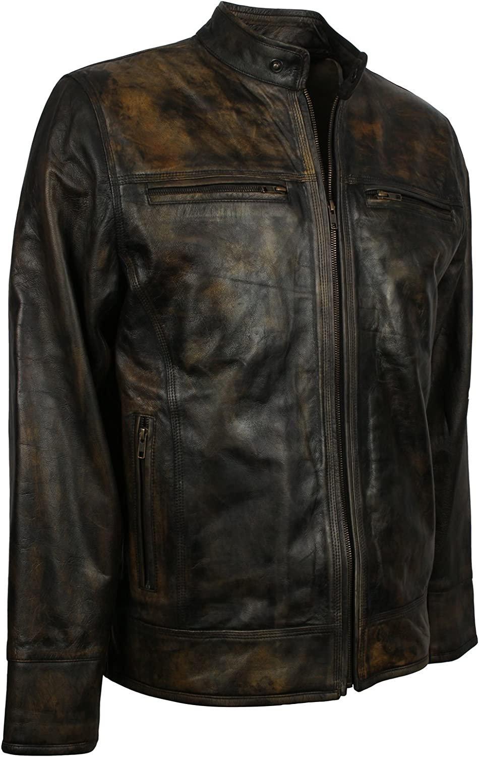 Herts Leather Tough Mens Classic Vintage Style Rusty Look HQ Genuine Leather Jacket