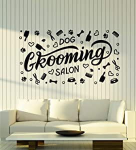 Vinyl Wall Decal Grooming Salon Hygiene Animals Dog Pets Stickers Mural Large Decor (g2484) Black