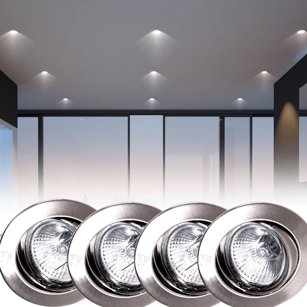 4er Set LED Decken Einbau Strahler beweglich ALU Wohn Zimmer Lampen Spots rund