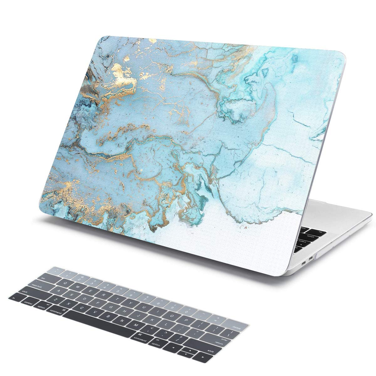 Batianda Light Blue Gold Marble Pattern Hard Protective Cover Case for New MacBook Pro 15 inch Touch Bar (Model:A1990/A1707 2018 2017 2016 Release) ...