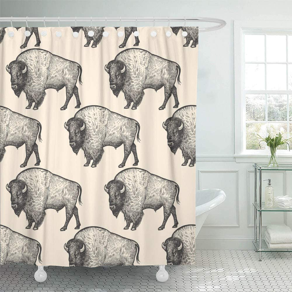 Abaysto Animals North America Bison Hand Drawing of Wildlife Black and  White Bathroom Decor Shower Curtain Sets with Hooks Polyester Fabric Great  Gift