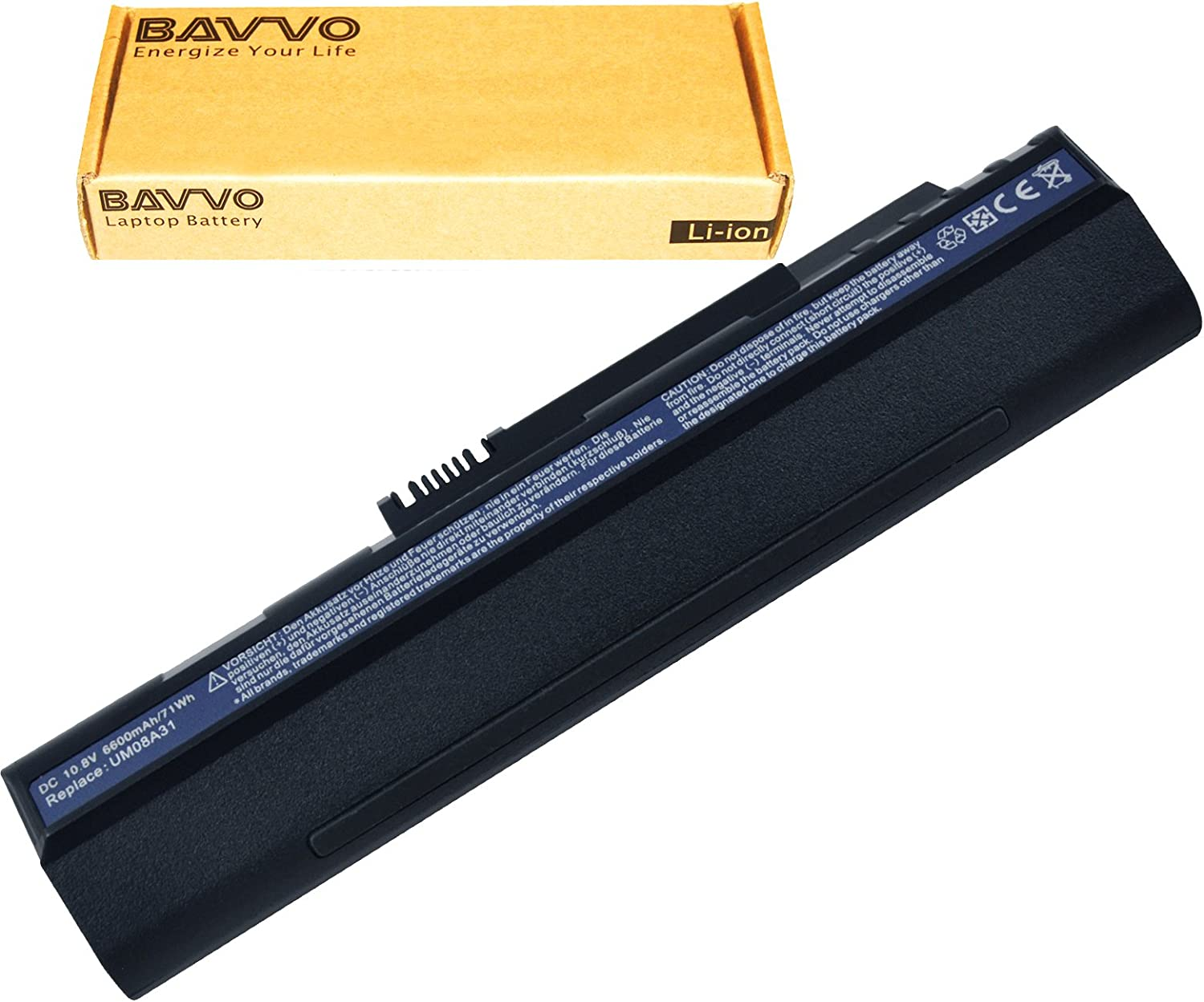 Bavvo 9-Cell Battery Compatible with ACER Aspire one D250-1325, Black