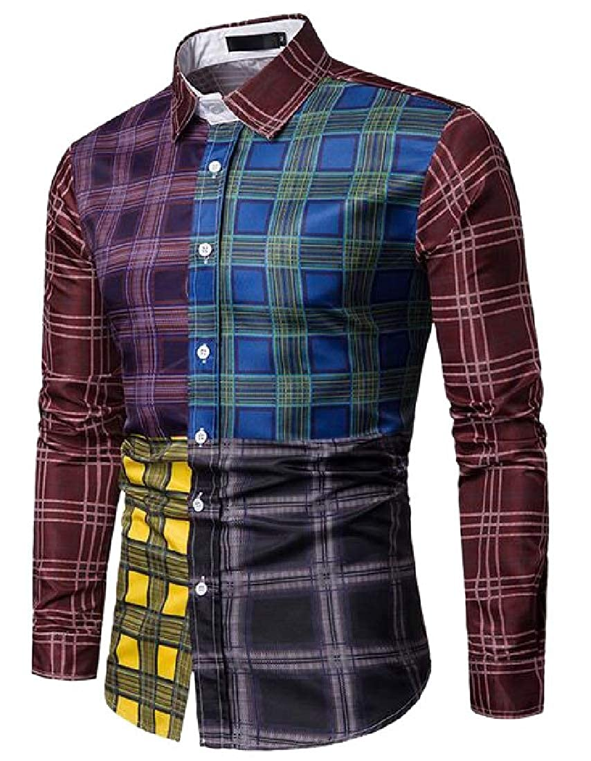 Generic Mens Patchwork Button Down Shirt Long Sleeve Plaid Dress Shirt
