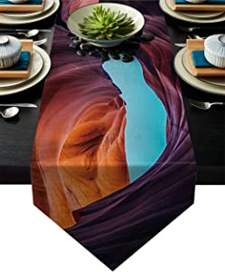 Fandim Fly Dining Table Runner 13 x 70 Inch, Natural Cave View from Inside The Rock Cavern Photo Table Runners for Morden Stylish Wedding Party Holiday Table Setting Decor