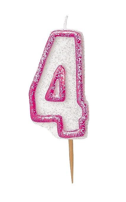 Unique Party- Vela de cumpleaños número 4, Color rosa brillante ...