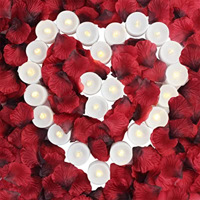 obmwang Pack of 24pcs Realistic Flameless LED Tea Light Candles and 2000pcs Dark Silk Rose Petals Artificial Red Rose Flower Petals, Ideal for Valentine's Day, Proposal, Wedding, Anniversary, Honeymoo: Home Improvement